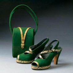 Gorgeous. Green suede platform sandals and handbag with snakeskin trim, 1944