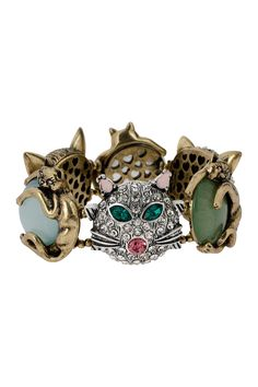 This 'Vintage Kitty' stretch bracelet is purrfect for any cat-lover!