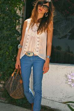 flowy white shirt and light jeans- summer uniform