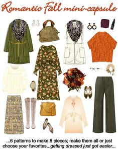 The complete Romantic Fall capsule Simple Wardrobe, Wardrobe Ideas, Early Fall Outfits, Fall Capsule Wardrobe, Fashion Capsule, Fashion Sewing, Wardrobes, Get Dressed, Dress Making