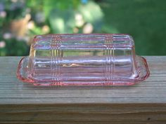 Hazel Atlas vintage pink depression glass Criss Cross Butter Dish