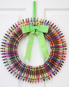Color Me Merry Crayon Wreath Teacher Wreath by WeLoveWreaths