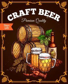 Craft Beer Pub Bar Vector Retro Poster by seamartini Beer pub poster. Vector design of craft or draught beer wood barrels, ale mugs and bottles for brewery or Oktoberfest bar label. Retro Poster, Vintage Posters, Beer Images, Brewery Design, Bar Logo, Beer Art, Pub Bar, Brew Pub, Beer Brewing