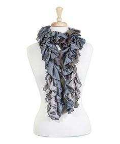 Loving this Tickled Pink Silver Ruffle Scarf on #zulily! #zulilyfinds