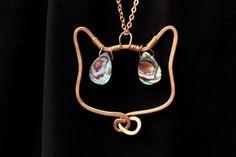 Cat abalone necklace Cat jewelry Face cat pendant Brass di NoaZen
