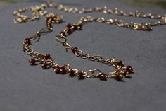 Gold Garnet Necklace, Long Gold Chain Necklace Red Garnet Necklace Overhead Long Drop Necklace January Birthstone Necklace by BaileyBespoke on Etsy
