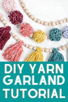 Diy Yarn Garland, Wood Bead Garland, Beaded Garland, Pom Pom Garland, Yarn Pom Poms, Fabric Pom Poms, Pom Pom Crafts, Yarn Crafts, Diy Crafts Using Yarn