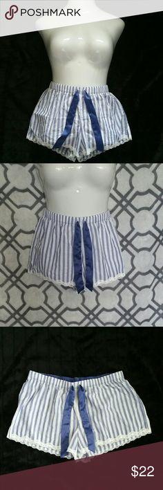 Victoria's Secret Pajama Shorts Blue and white stripes w/ a blue ribben tie, size M Victoria's Secret Intimates & Sleepwear