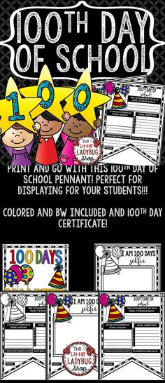 You will love using these 100th Day of School Pennants! It is perfect for assisting you celebrate the 100th Day of School in a fun interactive way! This perfect for you to display your special day! Just Print and GO! Students will LOVE these!