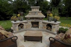 Outdoor Fireplace & BBQ Designs, Outdoor Kitchen Landscaping NJ - Perfect idea for filling concrete space in any backyard! Outdoor Fireplace Patio, Outside Fireplace, Outdoor Fireplace Designs, Outdoor Pergola, Pergola Kits, Outdoor Rooms, Outdoor Living, Outdoor Decor, Outdoor Fireplaces