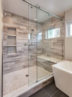 Gorgeous Custom Bathroom with Extra Large Shower - Contemporary - Bathroom - Den. - Gorgeous Custom Bathroom with Extra Large Shower – Contemporary – Bathroom – Denver – by JM - Master Bathroom Shower, Bathroom Renos, Bathroom Renovations, Bathroom Ideas, Houzz Bathroom, Modern Bathroom, Bathroom Layout, Bathroom Organization, Master Bathroom Remodel Ideas