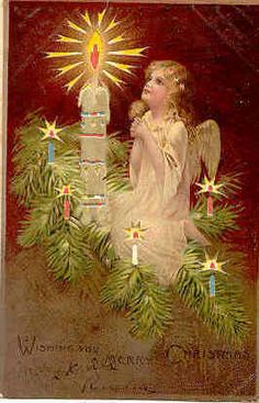 An Extremely Rare Diecut Hold To Light Christmas Angel Post Card. When card is held up to a light it will appear as though the card has had electric lights within turned on. Card has a Divided Back, is Unused and in Excellent condition. Karodens Vintage Post Cards www.bonanza.com/booths/karoden