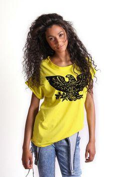 FLOCKED EAGLE GRAPHIC T-SHIRT R 275.00 - Round neckline - Rolled short sleeves - Velvet flocked eagle graphic on front Flocking, Eagle, Short Sleeves, Neckline, Velvet, Graphics, Tees, Summer, T Shirt
