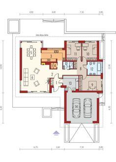 Projekt domu AC Dominik (wersja B) CE - DOM - gotowy koszt budowy House Layout Plans, Dream House Plans, House Layouts, House Floor Plans, Minimalist House Design, Minimalist Home, Circle House, Duplex Plans, Villa Plan