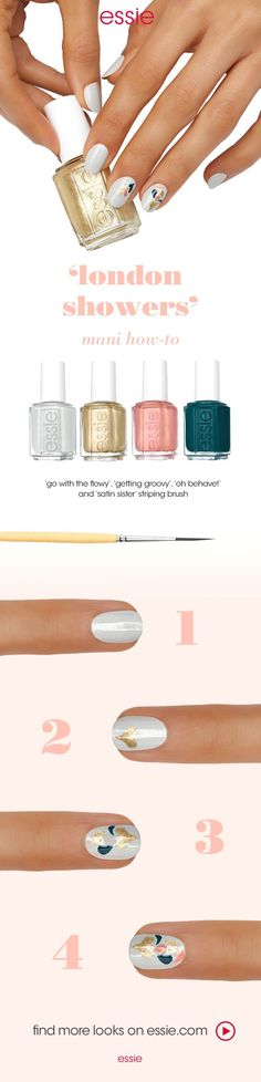 """Get this look: step 1: After a thin layer of essie base coat, apply two coats of 'go with the flowy'. step 2: Create a heart-shaped """"droplet"""" at the tip of the nail using  'getting groovy'. step 3: Add single droplets using  'satin sister', 'getting groovy', and 'oh behave!' creating a fluid & natural shape.  Ta da!"""