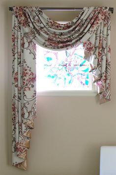 Pole swags jabots Custom curtains Custom made window Swag Curtains, Curtains Living, Custom Curtains, Valance Curtains, Drapery, Valances, Sheer Curtains, Window Swags, Window Coverings