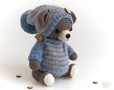 Amigurumi teddy bear toy Oli, crochet stuffed plush bear animal with clothes Teddy bear Oli is a jointed crocheted teddy bear. He is about 8 inches cm) tall and he wears a striped pullover and a hat with pompom. Handmade in a smoke-free environment. Crochet Teddy, Crochet Dolls, Knit Crochet, Crochet Hats, Teddy Bear Toys, Teddy Bears, Bear Animal, Plush Animals, Wool Yarn
