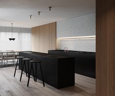 Artem Trigubchak is an Architecture and Interior Design practice based in Kiev and working worldwide. Contemporary Kitchen Interior, Interior Design Living Room, Küchen Design, House Design, Design Ideas, Minimal Kitchen Design, Building A Kitchen, Style Loft, Apartment Interior