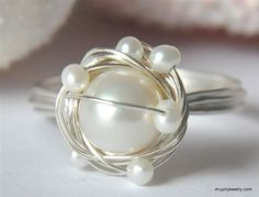 SNOWY NEST freshwater pearl wire wrap ring... muyinjewelry.com >> SO beautiful!