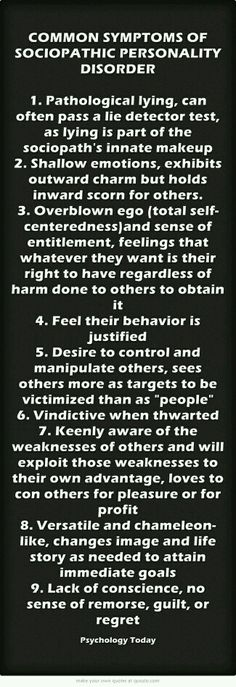 Common Symptoms of Sociopathic Personality Disorder - wow! Lying and having no remorse or guilt. Able to pass a lie detector test. What a sad, miserable life. Sociopathic Personality Disorder, Symptoms Of Personality Disorder, Lie Detector Test, Just In Case, Just For You, Narcissistic Sociopath, Sociopath Traits, Sayings, Feelings