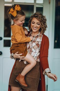 Three Pieces You Need in Your Closet this Fall: The Perfect Plaid Button Down, Long Rust Cardigan & Cord Skirt Mother Daughter Photos, Mother Daughter Matching Outfits, Mommy And Me Outfits, Fall Photo Shoot Outfits, Fall Family Picture Outfits, Outfits Otoño, Kids Outfits, Longline Cardigan, Long Cardigan