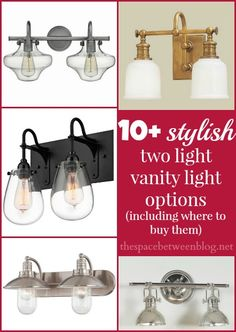 Finding just the right lighting for you bathroom can be hard, here is a great list of 2 light vanity light options to help you narrow down your style.