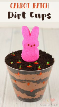 Carrot Patch Dirt Cups are the perfect no bake dessert for Easter, Spring or a garden themed party. Dirt Cake is a pudding and cookie layered dessert. The chocolate pudding and Oreo cookie layers in the chocolate dessert represents the garden's dirt. Then