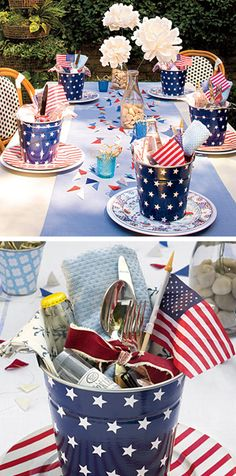 5. Table décor - Simple flower setting with mini buckets full of goodies #ConsumerCrafts #SummerParty