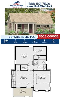 A rustic Cottage home, Plan features 664 sq., 1 bedroom, 1 bathroom, and an open floor plan. Guest House Plans, Small House Floor Plans, Cottage Floor Plans, Cabin House Plans, Tiny House Cabin, Cottage House Plans, Cottage Homes, Tiny Houses, 800 Sq Ft House