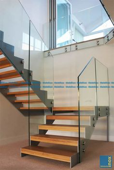 Steel Structure Modern Stair Gallery with solid timber treads and glass balustrade. A complete view of our completed projects with links to project pages. Open Staircase, Floating Staircase, Staircase Railings, Banisters, Glass Stairs, Glass Railing, Glass Balustrade, Staircase Remodel, Staircase Makeover