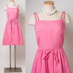 Vintage Pink dress 60s Dress Mad Men Dress by TrendyHipBuysVintage
