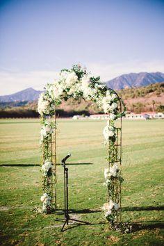 Sweet ceremony arch: http://www.stylemepretty.com/california-weddings/santa-barbara/2015/05/28/elegant-tented-santa-barbara-polo-club-wedding/ | Photography: Jessica Lewis - http://www.jessicalewisphoto.com/blog/