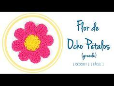 Flor de Ocho Pétalos a Crochet #1 (grande) | PATRONES VALHALLA // Patrones gratis de ganchillo