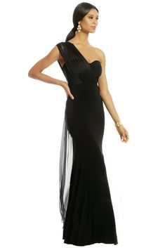 e10477420aeb NWT $715 CARLOS MIELE Reflect In Beauty Gown-Draped Full Length Dress-Black-