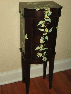 jewelry armoire with yellow jasmine  flowers by LAVENDERDOTS on Etsy https://www.etsy.com/listing/214860949/jewelry-armoire-with-yellow-jasmine