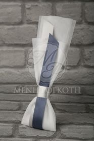 Μένη Ρογκότη - Μπομπονιέρα γάμου υφασμάτινο λουλούδι λευκό