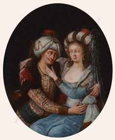 """Suleiman and Roxelana"", oil on canvas, French School of the 18th century"