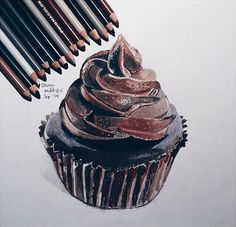 Find images and videos about art, food and drawing on We Heart It - the app to get lost in what you love. Sweet Drawings, Cool Art Drawings, Realistic Drawings, Colorful Drawings, Pencil Drawings, Art Sketches, Cupcake Drawing, Cupcake Art, Colored Pencil Artwork
