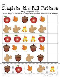 Help your preschoolers and kindergartners develop their pattern recognition skills with this fall themed pattern worksheet. After studying each pattern, have your students cut out the pictures from. Fall Preschool Activities, Free Preschool, Preschool Printables, Preschool Worksheets, Preschool Learning, Teaching, Learning Activities, Apple Activities, Montessori Activities