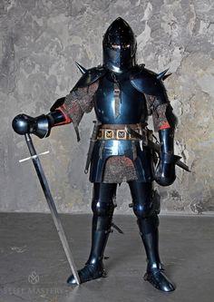 "Milan-style blued full plate armour 1440-1445 years ""Avant Armour"" + Sugarloaf helmet"