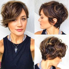 "Long Curly Pixie with Subtle Highlights One of our favorite short shag haircuts is actually a ""long,"" wavy pixie style. The slightly longer length allows the curls to come to full fruition. Trendy Haircut, Short Shag Hairstyles, Short Layered Haircuts, Wedding Hairstyles, Hairstyles 2016, Bob Hairstyle, Short Wavy Pixie, Curly Pixie, Long Curly"