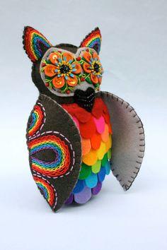 rainbow art owl soft sculpture.