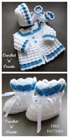 Shell Baby Outfit Set Free Crochet Patterns - DIY Magazine Crochet Baby Cardigan Free Pattern, Crochet Baby Jacket, Crochet Baby Sweaters, Newborn Crochet Patterns, Baby Sweater Patterns, Crochet Baby Shoes, Crochet Baby Clothes, Free Crochet, Formal Outfits