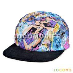 Beautiful Girl Floral Pattern Snapback Baseball Cap Blue