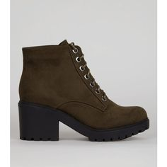 New Look Teens Khaki Lace Up Chunky Boots ($35) ❤ liked on Polyvore featuring shoes, boots, khaki, laced boots, lace front boots, lace up boots, laced up boots and rounded toe boots