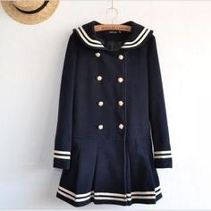 To find out about the Navy Long Sleeve Double Breasted Bow Ruffle Coat at SHEIN, part of our latest Outerwear ready to shop online today! Sailor Fashion, Lolita Fashion, Harajuku Fashion, Estilo Navy, Navy Coat, Vintage Mode, Dress To Impress, What To Wear, Winter Fashion