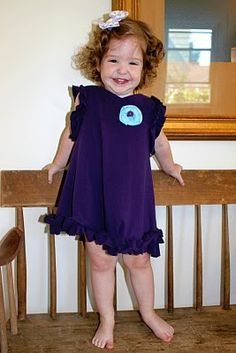 Toddler Ruffle Dress from Upcycled T-shirt