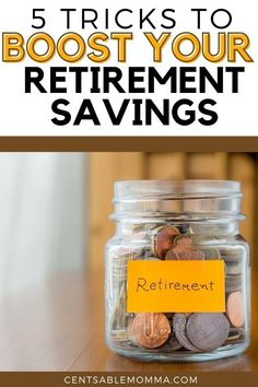 When it's time to retire, you want to make sure you have plenty of money to live off of. However, how to do you save enough? Check out these 5 Tricks to Boost Your Retirement Savings to help you reach your personal finance savings goal. #retirementsavingsplan Savings Goal, Savings Bonds, Retirement Savings Plan, Saving For Retirement, Opening An Ira, Make Ends Meet, Frugal Living Tips, Get Over It, Personal Finance