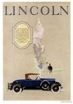 1926 Lincoln Sport Roadster Ad. More Car Pictures:  http://carpictures.us