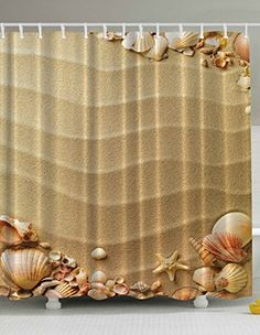 Sand Sea Shells Starfish Beach Digital Graphic Print Shower Curtain Set Non Vinyl Bath Tub Liner Waterproof Fabric Mildew Resistant Material Hooks Included